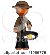Orange Detective Man Frying Egg In Pan Or Wok