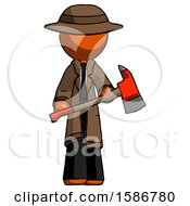 Orange Detective Man Holding Red Fire Fighters Ax