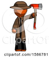 Orange Detective Man Holding Up Red Firefighters Ax