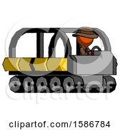 Orange Detective Man Driving Amphibious Tracked Vehicle Side Angle View