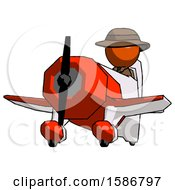 Orange Detective Man Flying In Geebee Stunt Plane Viewed From Below