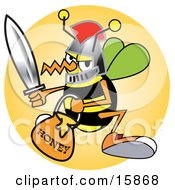 Bee In A Helmet Holding A Sword And Carrying A Bucket Of Honey Clipart Illustration