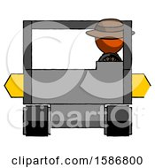 Orange Detective Man Driving Amphibious Tracked Vehicle Front View