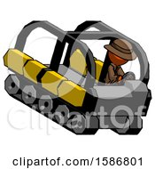 Orange Detective Man Driving Amphibious Tracked Vehicle Top Angle View