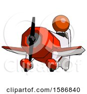 Orange Clergy Man Flying In Geebee Stunt Plane Viewed From Below
