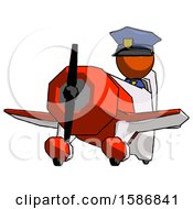 Orange Police Man Flying In Geebee Stunt Plane Viewed From Below