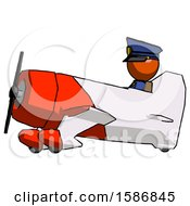 Orange Police Man In Geebee Stunt Aircraft Side View
