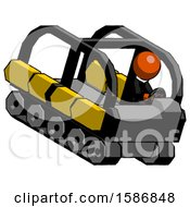 Orange Clergy Man Driving Amphibious Tracked Vehicle Top Angle View