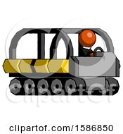 Orange Clergy Man Driving Amphibious Tracked Vehicle Side Angle View