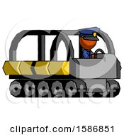 Orange Police Man Driving Amphibious Tracked Vehicle Side Angle View
