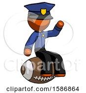 Orange Police Man Sitting On Giant Football