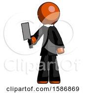 Orange Clergy Man Holding Meat Cleaver