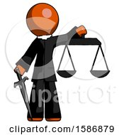 Orange Clergy Man Justice Concept With Scales And Sword Justicia Derived