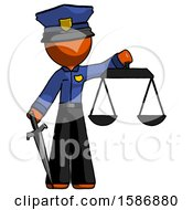 Orange Police Man Justice Concept With Scales And Sword Justicia Derived