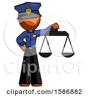 Orange Police Man Holding Scales Of Justice