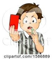 Clipart Of A Brunette White Boy Referee Blowing A Whistle And Holding A Red Card Royalty Free Vector Illustration