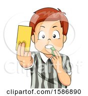 Clipart Of A Brunette White Boy Referee Holding A Yellow Card Blowing A Whistle Royalty Free Vector Illustration