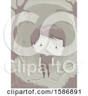 Clipart Of A Boy Walking Alone And Depressed In The Woods Royalty Free Vector Illustration