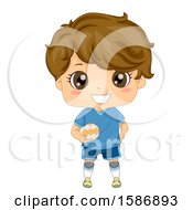 Clipart Of A Brunette White Boy Playing European Handball Royalty Free Vector Illustration