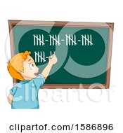 Clipart Of A Red Haired White Boy Tallying On Blackboard Royalty Free Vector Illustration