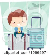 Clipart Of A Brunette White Boy Sitting On A Luggage Bag At The Airport Royalty Free Vector Illustration