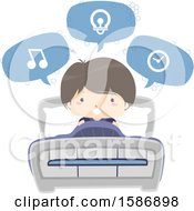 Clipart Of A Boy Speaking And Using Voice Command On His Bed Royalty Free Vector Illustration
