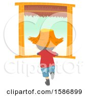 Clipart Of A Rear View Of A Boy Wearing A Straw Hat And Looking Out Of A Window Royalty Free Vector Illustration