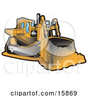 Yellow Bulldozer Moving Dirt At A Construction Site Clipart Illustration by Andy Nortnik