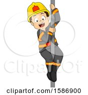 Clipart Of A Brunette White Boy Fireman Riding Down A Fire Pole Royalty Free Vector Illustration
