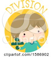 Clipart Of A White Boy Holding An Obelus Or Division Sign For Math Royalty Free Vector Illustration