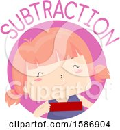 Clipart Of A Red Haired White Girl Holding A Minus Sign Royalty Free Vector Illustration
