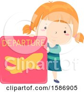 Clipart Of A Red Haired White Girl Holding A Departure Of An Airplane Sign Royalty Free Vector Illustration