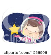 Poster, Art Print Of Brunette White Girl Astronaut Showing A Glowing Star To Her Right
