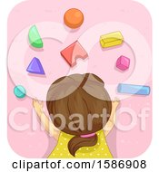 Clipart Of A Brunette White Girl Lying Down The Carpet Playing With Building Blocks Royalty Free Vector Illustration