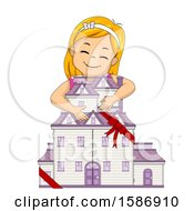 Clipart Of A Red Haired White Girl Hugging A New Doll House She Received As A Gift Royalty Free Vector Illustration
