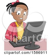 Black Girl Drawing Using A Graphics Tablet On Computer