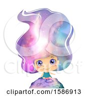 Girl Sitting On Top Of A Planet With Outer Space On Her Hair