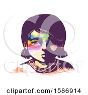 Clipart Of A Sad Girl With Rainbow Pattern On Eyes Area Royalty Free Vector Illustration