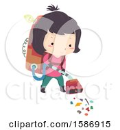 Clipart Of A Girl Using A Trash Collecting Vacuum Cleaner She Invented Royalty Free Vector Illustration
