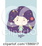 Clipart Of A Girl With Outer Space In Her Hair Royalty Free Vector Illustration
