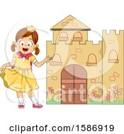 Clipart Of A Brunette White Girl Princess Welcoming Us In Her Castle In A Play Royalty Free Vector Illustration