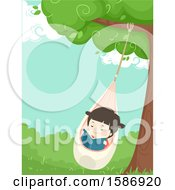 Clipart Of A Girl Reading On A Pod Swing Under A Tree Royalty Free Vector Illustration