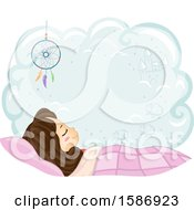 Clipart Of A Brunette White Girl Sleeping On Her Bed With A Dream Catcher And A Cloud With Space For Text Royalty Free Vector Illustration