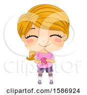 Clipart Of A Red Haired White Girl Playing European Handball Royalty Free Vector Illustration
