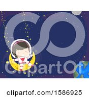 Clipart Of A Brunette White Girl Swinging In Outer Space Using The Moon And Stars Royalty Free Vector Illustration