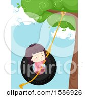 Clipart Of A Brunette White Girl Sitting On A Swing Made From An Old Tire Hanging Down The Tree Royalty Free Vector Illustration by BNP Design Studio