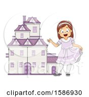 Clipart Of A Brunette White Girl Welcoming Us To Her Big Doll House Royalty Free Vector Illustration