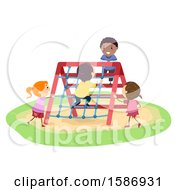 Clipart Of A Group Of Children Rope Climbing On A Playground Royalty Free Vector Illustration