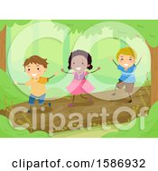 Clipart Of A Group Of Children Balancing And Walking On A Log In The Woods Royalty Free Vector Illustration by BNP Design Studio
