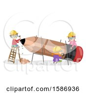 Clipart Of A Group Of Children Making A Giant Pencil Royalty Free Vector Illustration